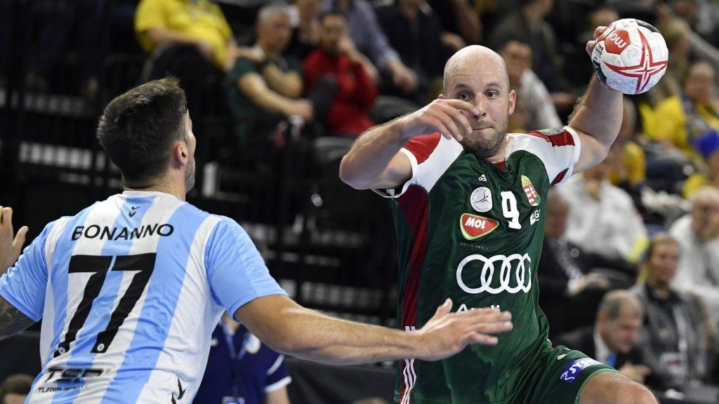 Koppenhága, 2019. január 11. Balogh Zsolt (j) és az argentin Nicolas Bonanno a német-dán közös rendezésû férfi kézilabda-világbajnokság csoportkörének 1. fordulójában játszott Magyarország - Argentína mérkõzésen Koppenhágában 2019. január 11-én. MTI/Illyés Tibor