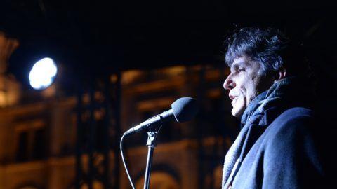 Budapest, 2019. január 5. Szûcs Tamás, a Pedagógusok Demokratikus Szakszervezetének (PDSZ) elnöke beszél a Kossuth téri kormányellenes tüntetésesen 2019. január 5-én. MTI/Balogh Zoltán