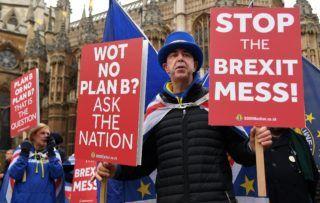 London, 2019. január 21. Nagy-Britannia Európai Unióból való kilépését (Brexit) ellenzõ tüntetõk transzparesekkel a kezükben a brit parlament épületénél, Londonban 2019. január 21-én. Theresa May brit miniszterelnök ezen a napon a parlament alsóháza elé terjeszti állásfoglalását és új cselekvési tervét a brit EU-tagság megszûnésével kapcsolatban, miután a testület nagy többséggel elutasította a Brexit feltételrendszerérõl az EU-val novemberben elért megállapodást. MTI/EPA/Andy Rain