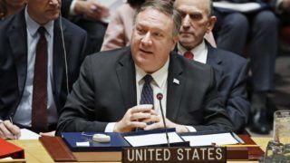 New York, 2019. január 26. Mike Pompeo amerikai külügyminiszter az ENSZ Biztonsági Tanácsának a venezuelai helyzettel foglalkozó rendkívüli ülésén, New Yorkban 2019. január 26-án. MTI/EPA/Jason Szenes