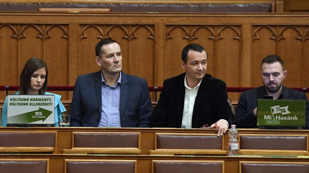 Budapest, 2018. december 10. Dúró Dóra, Volner János, Apáti István és Fülöp Erik független képviselõk, a Mi Hazánk Mozgalom politikusai (b-j) az Országgyûlés plenáris ülésén 2018. december 10-én. MTI/Máthé Zoltán