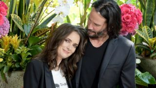 """LOS ANGELES, CA - AUGUST 18:  Winona Ryder (L) and Keanu Reeves attend a photo call for Regatta's """"Destination Wedding"""" at the Four Seasons Hotel Los Angeles at Beverly Hills on August 18, 2018 in Los Angeles, California.  (Photo by Kevin Winter/Getty Images)"""