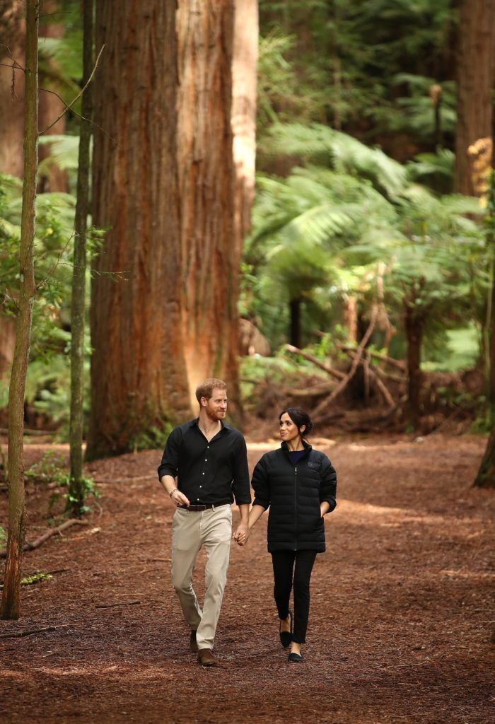 ROTORUA, NEW ZEALAND - OCTOBER 31: Prince Harry, Duke of Sussex and Meghan, Duchess of Sussex visit Redwoods Tree Walk on October 31, 2018 in Rotorua, New Zealand. The Duke and Duchess of Sussex are on their official 16-day Autumn tour visiting cities in Australia, Fiji, Tonga and New Zealand. (Photo by Phil Walter/Getty Images)