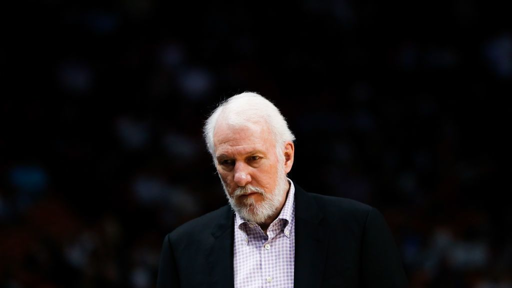 MIAMI, FL - NOVEMBER 07:  Head coach Gregg Popovich of the San Antonio Spurs reacts against the Miami Heat during the first half at American Airlines Arena on November 7, 2018 in Miami, Florida. NOTE TO USER: User expressly acknowledges and agrees that, by downloading and or using this photograph, User is consenting to the terms and conditions of the Getty Images License Agreement.  (Photo by Michael Reaves/Getty Images)