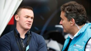AD DIRIYAH, SAUDI ARABIA - DECEMBER 15: Wayne Rooney and Alejandro Agag, CEO of Formula E during the Formula E Championship Ad Diriyah E-Prix on December 15, 2018 in Ad Diriyah, Saudi Arabia. (Photo by  Joe Portlock/Handout/Getty Images)