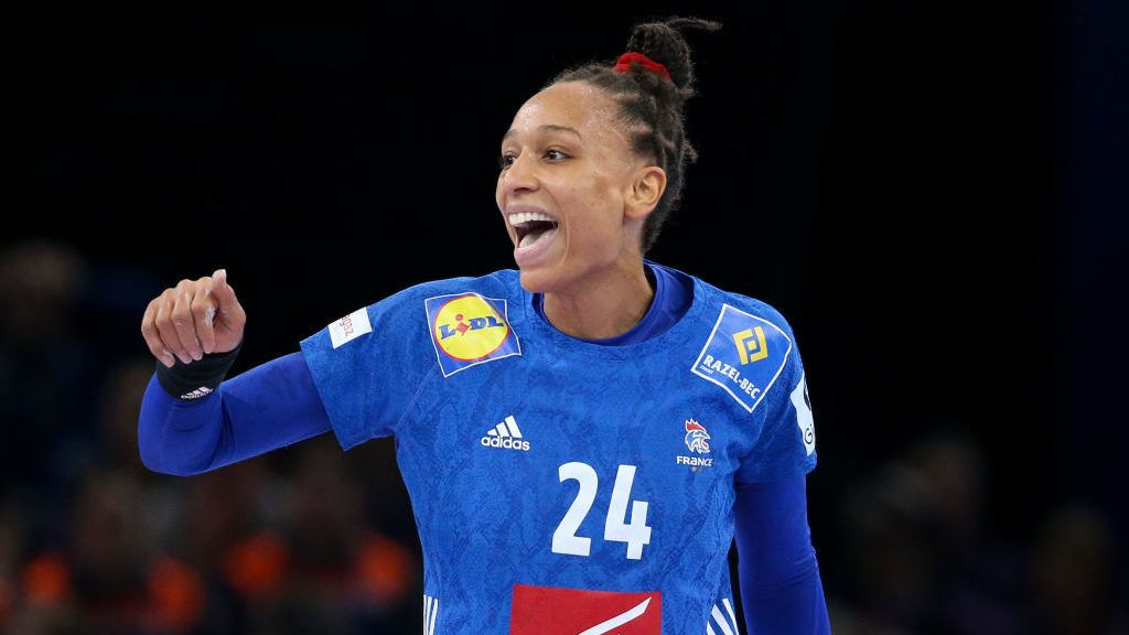 PARIS, FRANCE - DECEMBER 16: Beatrice Edwige of France celebrates a goal during the EHF Women's Euro 2018 Final match between Russia and France at AccorHotels Arena on December 16, 2018 in Paris, France. (Photo by Jean Catuffe/Getty Images)
