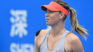 SHENZHEN, CHINA - JANUARY 04:  Maria Sharapova of Russia reacts against Aryna Sabalenka of Belarus during the women's singles quarter final match on main draw day 6 of the 2019 WTA Shenzhen Open at Shenzhen Longgang Sports Center on January 4, 2019 in Shenzhen, China.  (Photo by Zhe Ji/Getty Images)