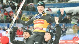 BISCHOFSHOFEN, AUSTRIA - JANUARY 6: Ryoyu Kobayashi of Japan Ryoyu Kobayashi of Japan celebrates with his team mates after winning the 67th FIS Nordic World Cup Four Hills Tournament ski jumping event  at  Paul-Außerleitner-Schanze  on January 6, 2019 in Bischofshofen, Austria. (Photo by Franz Kirchmayr/SEPA.Media /Getty Images)