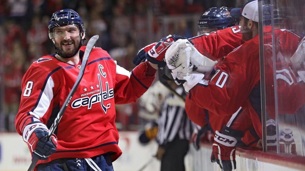 WASHINGTON, DC - DECEMBER 15: Alex Ovechkin #8 of the Washington Capitals celebrates after scoring in a shootout against the Buffalo Sabres at Capital One Arena on December 15, 2018 in Washington, DC. (Photo by Patrick Smith/Getty Images)
