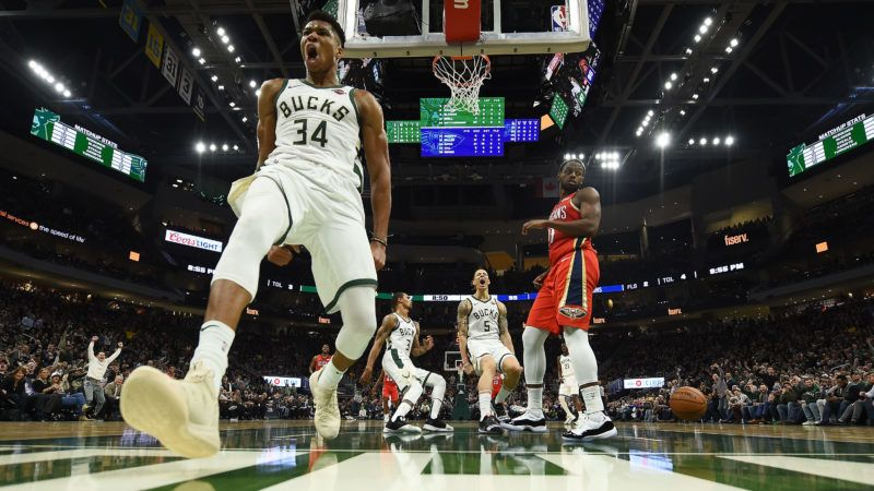 MILWAUKEE, WISCONSIN - DECEMBER 19:  Giannis Antetokounmpo #34 of the Milwaukee Bucks celebrates after scoring against the New Orleans Pelicans during a game at Fiserv Forum on December 19, 2018 in Milwaukee, Wisconsin.  NOTE TO USER: User expressly acknowledges and agrees that, by downloading and or using this photograph, User is consenting to the terms and conditions of the Getty Images License Agreement. (Photo by Stacy Revere/Getty Images)