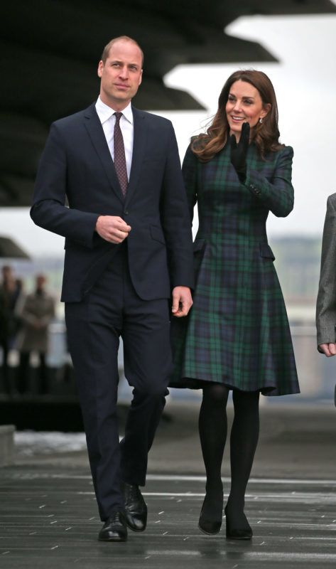 DUNDEE, SCOTLAND - JANUARY 29: Catherine, Duchess of Cambridge and Prince William, Duke of Cambridge, known as the Duke and Duchess of Strathearn when in Scotland, arrive to officially open V&A Dundee on January 29, 2019 in Dundee, Scotland. (Photo by Jane Barlow - WPA Pool/Getty Images)