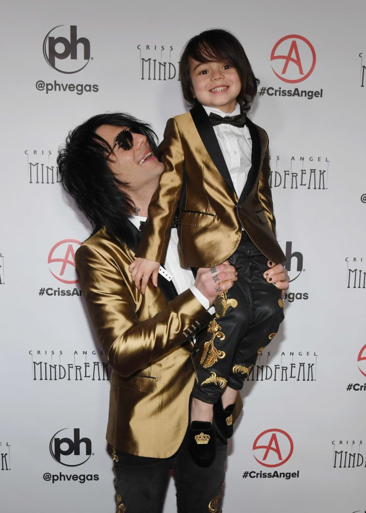 """LAS VEGAS, NEVADA - JANUARY 19:  Illusionist Criss Angel and Johnny Crisstopher Sarantakos attend the grand opening of """"Criss Angel MINDFREAK"""" at Planet Hollywood Resort & Casino on January 19, 2019 in Las Vegas, Nevada.  (Photo by Ethan Miller/Getty Images for Planet Hollywood Resort & Casino)"""