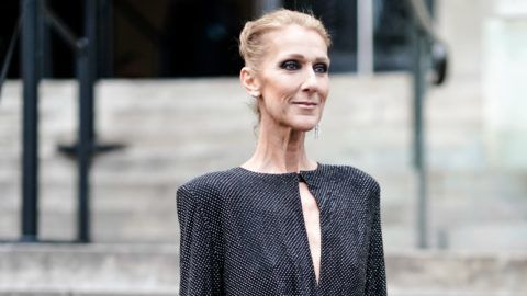 PARIS, FRANCE - JANUARY 22: Celine Dion wears a black dress, outside Alexandre Vauthier, during Paris Fashion Week - Haute Couture Spring Summer 2020, on January 22, 2019 in Paris, France. (Photo by Edward Berthelot/Getty Images)