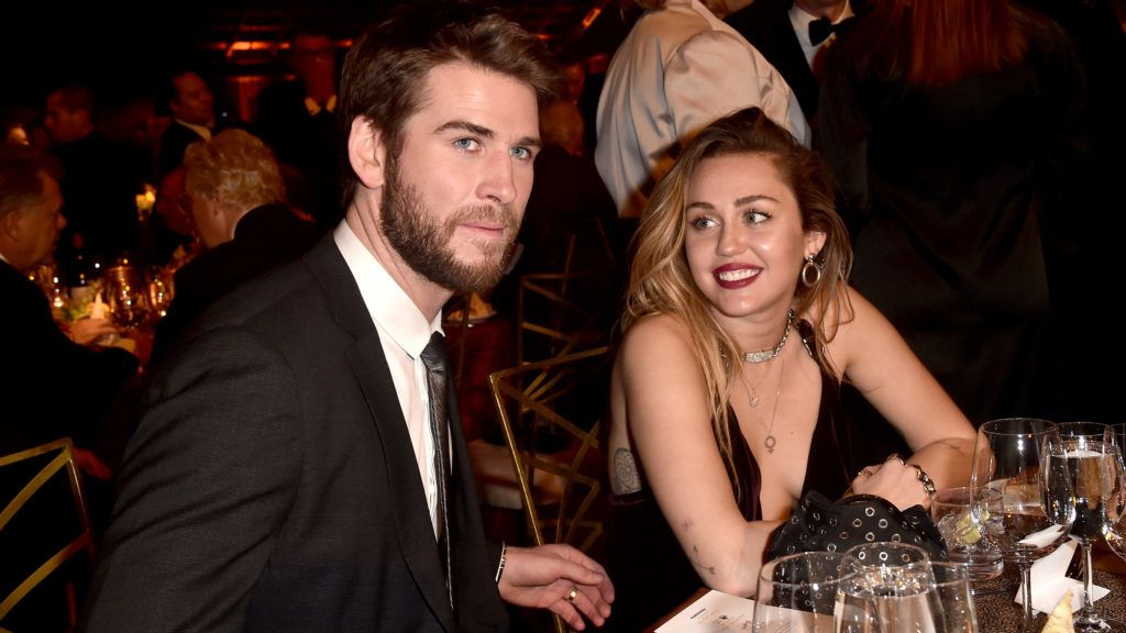 CULVER CITY, CALIFORNIA - JANUARY 26: Liam Hemsworth and Miley Cyrus attend the 16th annual G'Day USA Los Angeles Gala at 3LABS on January 26, 2019 in Culver City, California. (Photo by Alberto E. Rodriguez/Getty Images)