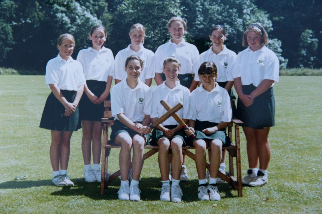PANGBOURNE, UNITED KINGDOM - UNDATED:  In this undated collect photo provided by St Andrew's School, Kate Middleton (front row, L) is pictured in a rounders team photo during her time as a pupil at St Andrew's School in Pangbourne, Berkshire, England (1986-1995). Catherine, Duchess of Cambridge re-visited her former school on November 30, 2012 to take part in a day of activities and festivities to mark the occasion of St Andrew's Day. The Duchess visited the Pre-Prep School for under-5s, unveiled a plaque to officially open a new artificial turf playing field and met members of the school's hockey team, which she played for during her time as a pupil at the school. She was also given a private tour of the school and watched the school's Progressive Games which are traditional games played indoors by teachers and students on St Andrew's Day.  (Photo provided by St Andrew's School - WPA Pool/Getty Images)