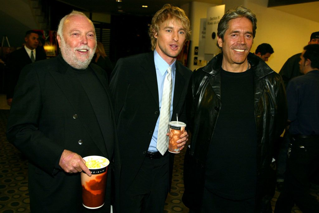 """Producer Andy Vajan, Owen Olsen and Mario Kassa at the """"I SPY"""" movie premiere at the Cinerama Dome in Hollywood, Ca. Wednesday, Oct. 23, 2002. Photo by Kevin Winter/Getty Images"""