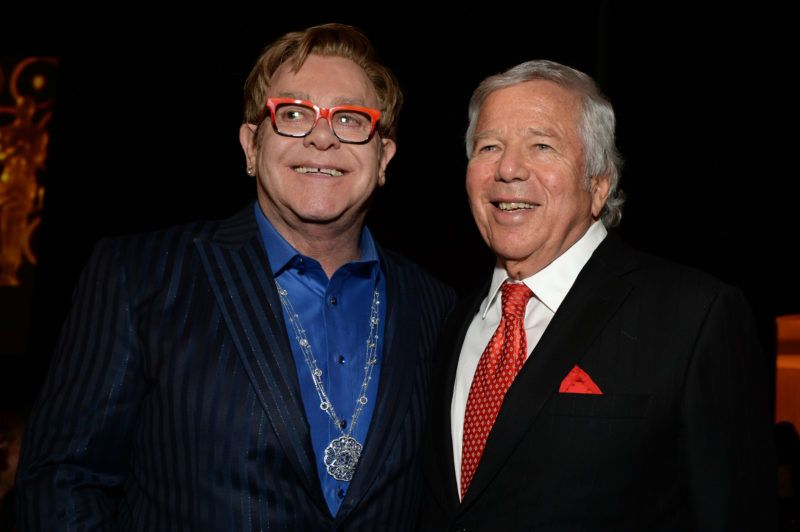 WEST HOLLYWOOD, CA - MARCH 02: Sir Elton John (L) and New England Patriots owner Robert Kraft attend the 22nd Annual Elton John AIDS Foundation Academy Awards Viewing Party at The City of West Hollywood Park on March 2, 2014 in West Hollywood, California.  (Photo by Michael Kovac/Getty Images for EJAF)