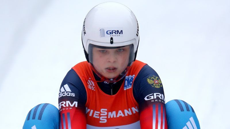 WINTERBERG, GERMANY - FEBRUARY 20:  Victoria Demchenko of Russia reacts after the women second heat during the Viessmann Luge World Cup Day 1 at Veltins Eis-Arena on February 20, 2016 in Winterberg, Germany.  (Photo by Christof Koepsel/Bongarts/Getty Images)