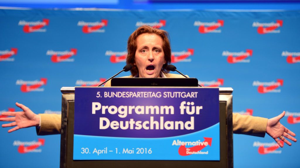 STUTTGART, GERMANY - MAY 01: Co-deputy head of the Alternative fuer Deutschland (AfD) political party Beatrix von Storch speaks the delegates at the end of the party's federal congress on May 01, 2016 in Stuttgart, Germany. A server of the party had been hacked by a left political group and the addresses of AfD members has been published. The AfD, a relative newcomer to the German political landscape, has emerged from Euro-sceptic conservatism towards a more right-wing leaning appeal based in large part on opposition to Germany's generous refugees and migrants policy. Since winning seats in March elections in three German state parliaments the party has sharpened its tone, calling for a ban on minarets and claiming that Islam does not belong in Germany.  (Photo by Thomas Lohnes/Getty Images)