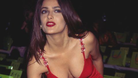 Mexican film actress Salma Hayek at the Versus Spring/Summer 1997 fashion show, USA, 1996. (Photo by Rose Hartman/Archive Photos/Getty Images)
