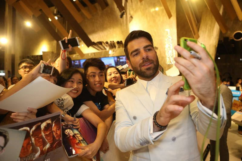 """GUANGZHOU, CHINA - AUGUST 20:  Zachary Quinto attends a red carpet & fan screening during the promotional tour of the Paramount Pictures title """"Star Trek Beyond"""", on August 20, 2016 at Jinyi Cinemas Fuli Haizhu Shopping Mall in Guangzhou, China.  (Photo by Emmanuel Wong/Getty Images for Paramount Pictures)"""