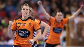 HAMBURG, GERMANY - DECEMBER 17:  Nycke Groot of Netherlands celebrate after scoring during the IHF Women's Handball World Championship 3rd place match between Netherlands and Sweden at Barclaycard Arena on December 17, 2017 in Hamburg, Germany.  (Photo by Oliver Hardt/Bongarts/Getty Images)