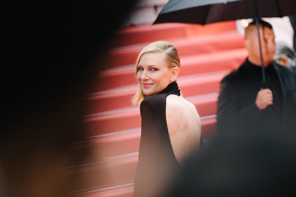 """CANNES, FRANCE - MAY 14:  (EDITORS NOTE: Image has been digitally retouched) Jury president Cate Blanchett attends the screening of """"BlacKkKlansman"""" during the 71st annual Cannes Film Festival at Palais des Festivals on May 14, 2018 in Cannes, France.  (Photo by Emma McIntyre/Getty Images)"""