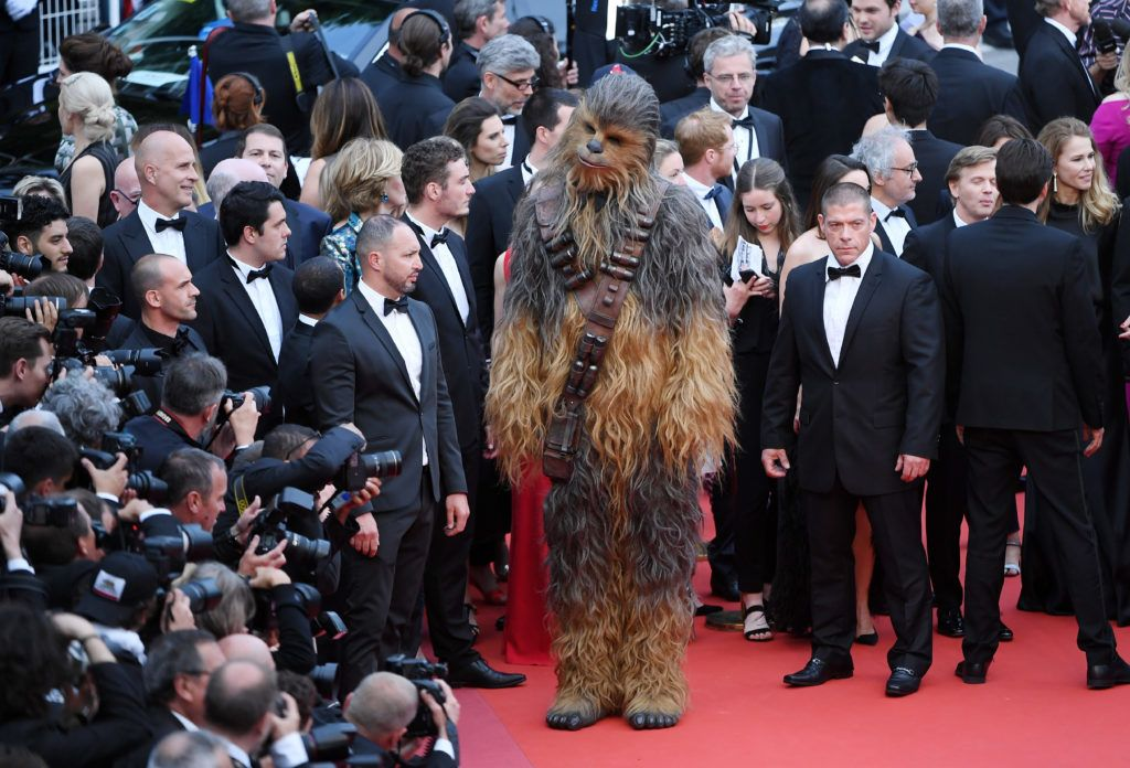 """CANNES, FRANCE - MAY 15:  Chewbacca attends the screening of """"Solo: A Star Wars Story"""" during the 71st annual Cannes Film Festival at Palais des Festivals on May 15, 2018 in Cannes, France.  (Photo by Gareth Cattermole/Getty Images)"""