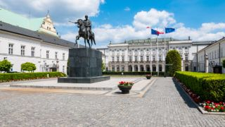 Warsaw, Poland - 3 June 2016 - Presidential Palace in Warsaw, Poland, on a sunny day with blue sky above.