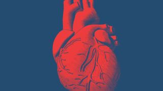 Engraving drawing human heart in red color on blue background