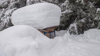 Lofer, 2019. január 14. Vastag hóval borított kunyhó az ausztriai Salzburg tartományban fekvõ Loferben 2019. január 14-én. Az elõzõ napokban szokatlanul nagy mennyiségû hó esett térségben, ezért Lofer, Unken és St. Martin településeket nem lehet autóval megközelíteni. MTI/EPA/Kertstin Jönsson