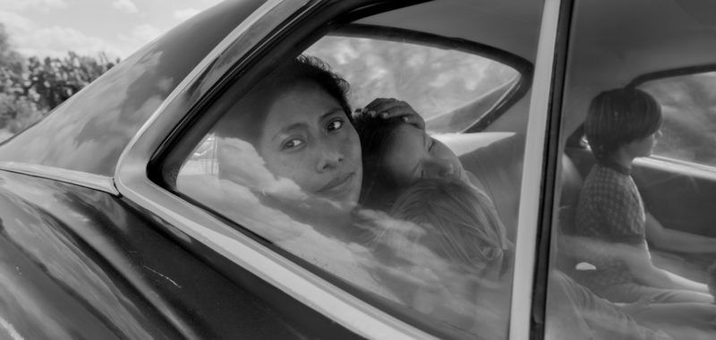 Yalitza Aparicio as Cleo, Marco Graf as Pepe, Carlos Peralta Jacobson as Paco, and Daniela Demesa as Sofi in Roma, written and directed by Alfonso Cuarón.Image by Alfonso Cuarón.