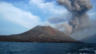 Clouds of smoke over Anak Krakatau voulcano