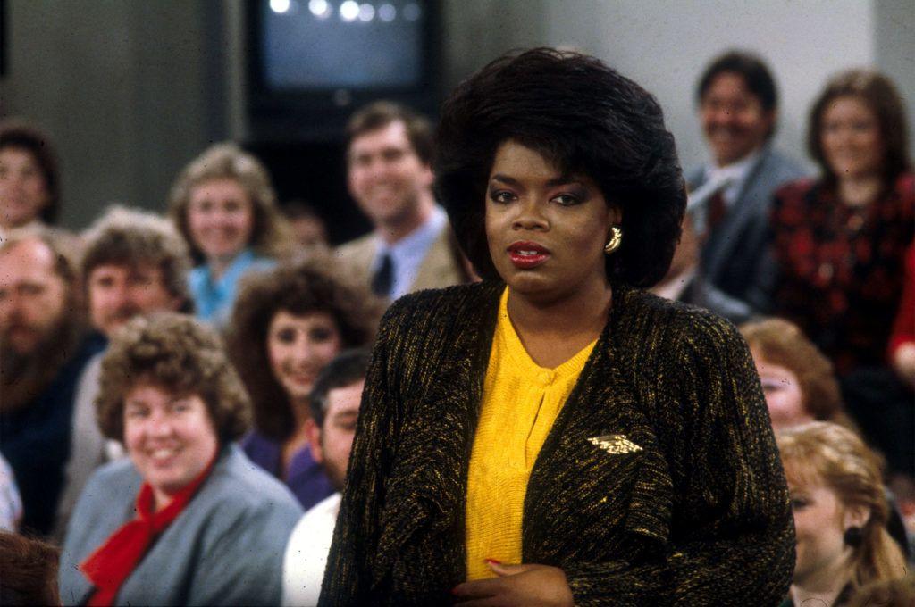 Talk show host OPRAH WINFREY on the set of the Oprah Show Photo by Robin Nelson/ZUMA Press. (©) Copyright by Robin Nelson