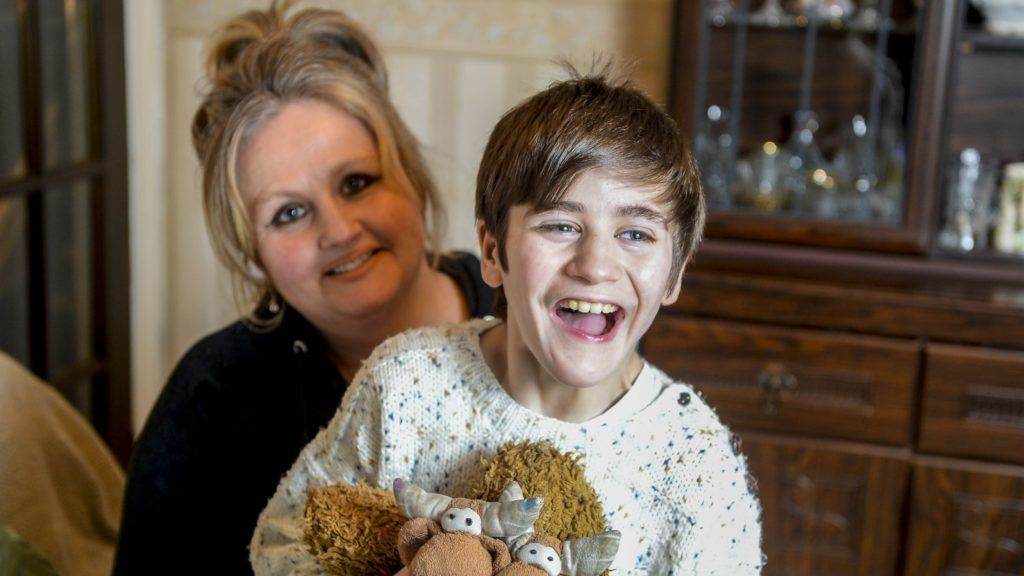 """Kay Robinson, 48 and her son Hamish, 10. Hamish has a unique chromosomal condition which is so unique it does not have a name. See SWNS story SWLEkidney. A 10-year-old suffers from a genetic condition so rare it doesn't have a name - which has left him with a kidney in his right LEG. Hamish Robinson is thought to be the only person in the world to be diagnosed with chromosome 7p22.1 - which doctors refer to as the """"Hamish syndrome"""". The youngster was born five-and-a-half-weeks prematurely in May 29, 2008 seemingly healthy albeit extremely tiny - weighing just two pounds. Following complications with feeding, he was then discharged from hospital but at home he wasn't reaching the normal milestones like talking. ***EXCLUSIVE***"""