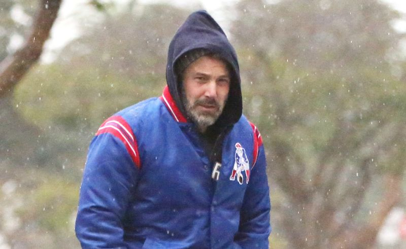 PREMIUM EXCLUSIVE Please contact X17 before any use of these exclusive photos - x17@x17agency.comMonday, January 14, 2019 - Ben Affleck gets drenched in his New England Patriots jacket as he runs errands in Brentwood amid torrential rains which have caused flash flood and mud and debris flow warnings, and prompted road closures in Southern California. Despite getting soaked and appearing to be freezing, Affleck is eager to show his support for the Patriots after they defeated the Los Angeles Chargers yesterday to advance to the NFL Conference Championships. - X17online.com January 14, 2019