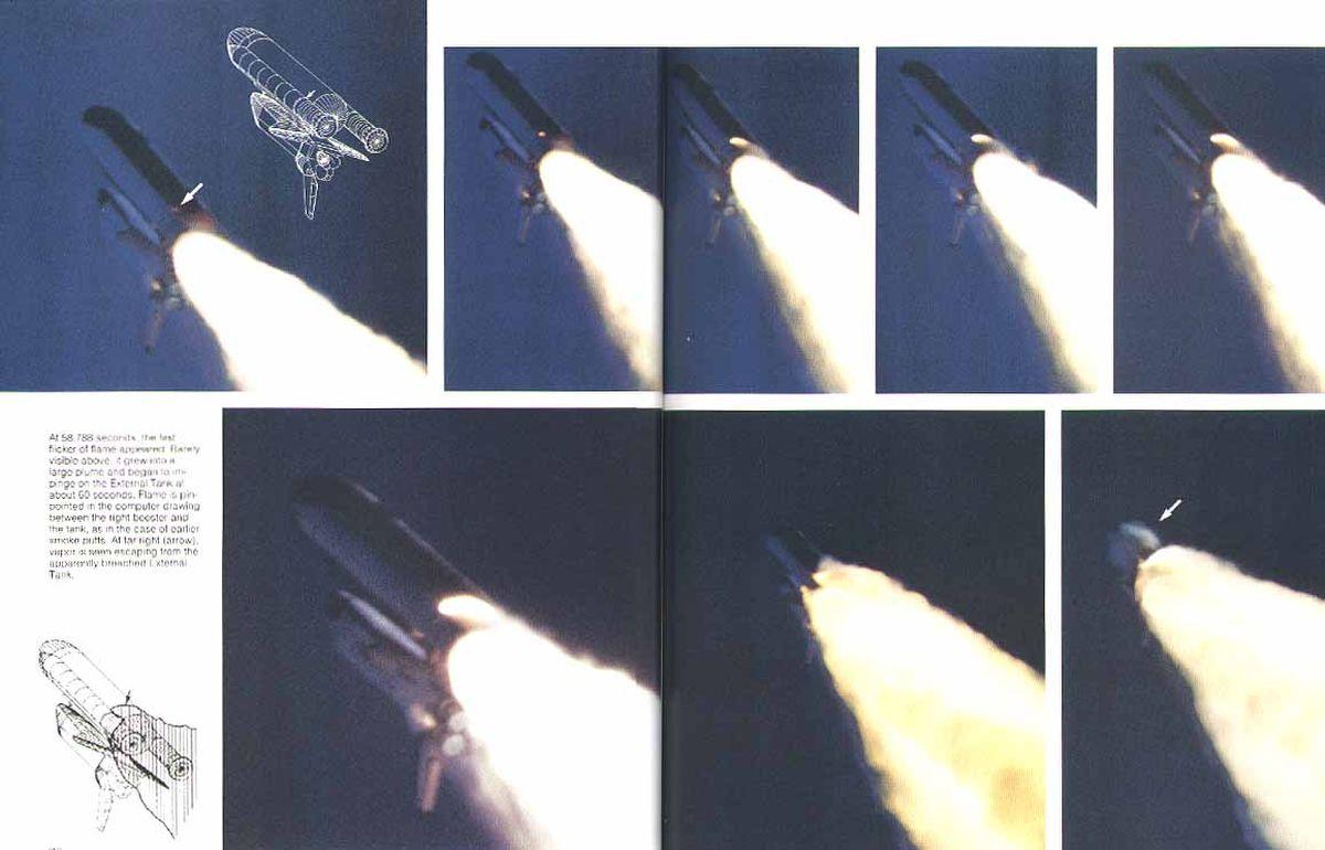 A külső üzemanyagtartály és a jobb oldali gyorsítórakéta között 58,788 másodperckor megjelenő lángcsóva folyamatos növekedése a Challenger űrrepülőgép katasztrófája soránFotó:NASA