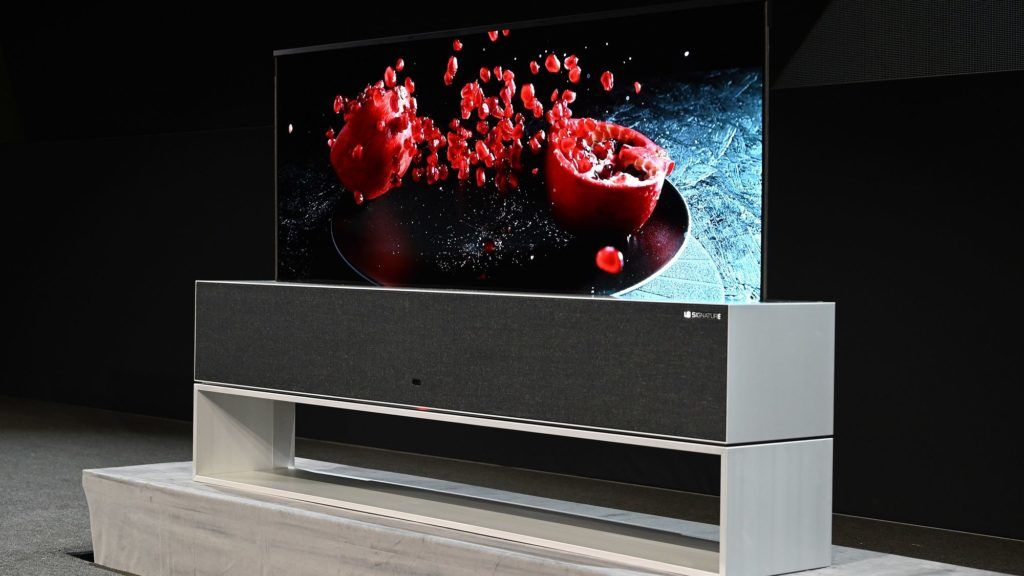 The Signature OLED TV R, a roll-up television, is presented at the LG press conference at the Mandalay Bay Convention Center during CES 2019 in Las Vegas on January 7, 2019. (Photo by Robyn Beck / AFP)