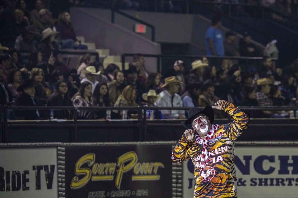Barrelman Cody Sosebee jokes around during the Tuff Hedeman Bull Riding Tour at the El Paso County Colosseum, on February 16, 2019. - About 25 riders competed for about $30,000 in prize money for this Tuff Hedeman Bull Riding Tour stage named after the four time bull riding world champion who grew up in El Paso, Texas. (Photo by PAUL RATJE / AFP)