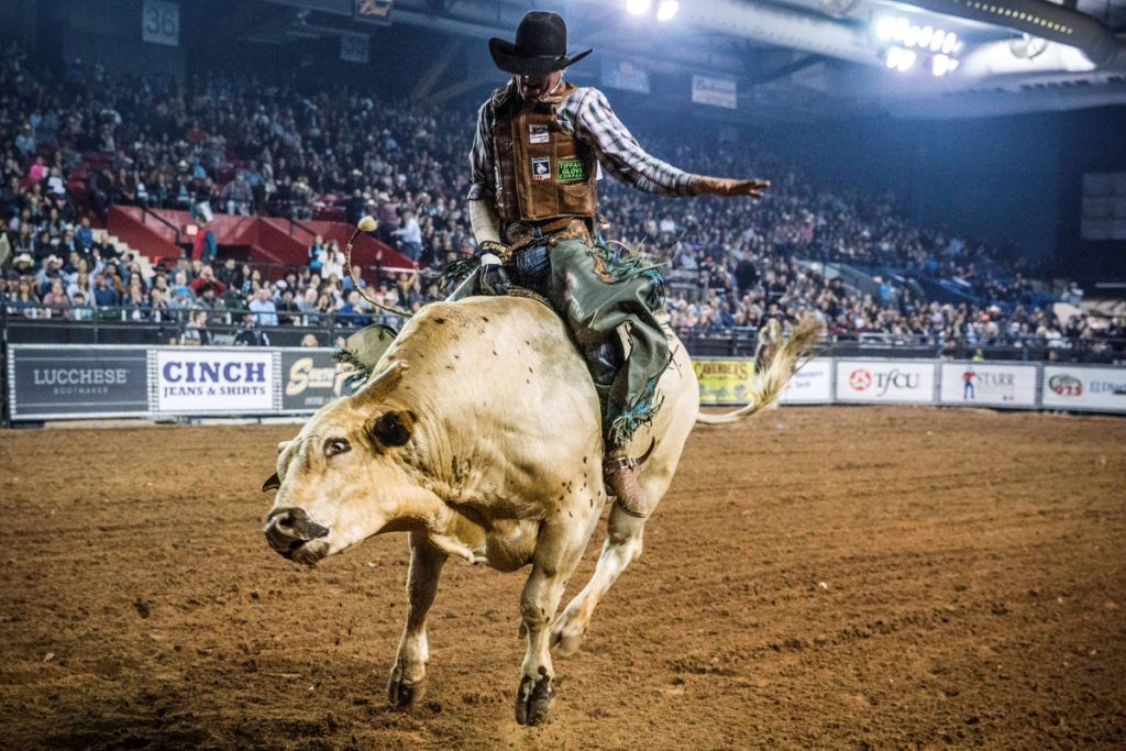 Brady Portenier of Caldwell Indiana competes in the El Paso County Colosseum during the Tuff Hedeman Bull Riding Tour on February 16, 2019. - About 25 riders competed for about $30,000 in prize money for this Tuff Hedeman Bull Riding Tour stage named after the four time bull riding world champion who grew up in El Paso, Texas. (Photo by PAUL RATJE / AFP)