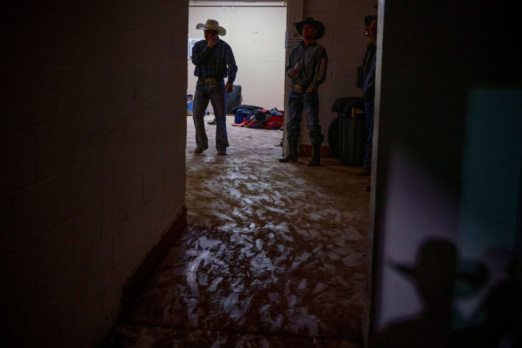 Footprints are visible backstage at the Tuff Hedeman Bull Riding Tour at the El Paso County Colosseum, on February 16, 2019. - About 25 riders competed for about $30,000 in prize money for this Tuff Hedeman Bull Riding Tour stage named after the four time bull riding world champion who grew up in El Paso, Texas. (Photo by PAUL RATJE / AFP)