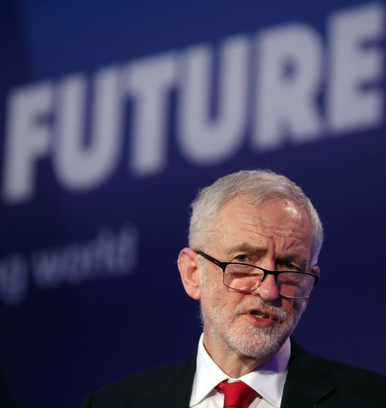 (FILES) In this file photo taken on February 19, 2019 Britain's main opposition Labour Party leader Jeremy Corbyn speaks during the National Manufacturing Conference in London on February 19, 2019. - Britain's main opposition Labour Party said on February 25 it was committed to eventually supporting a second referendum on leaving the European Union if its own plan for Brexit is not approved. (Photo by Daniel LEAL-OLIVAS / AFP)