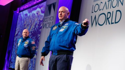 NEW YORK, NY - NOVEMBER 02: Captain Mark Kelly speaks on stage at LocationWorld 2016 Day 1 at The Conrad on November 2, 2016 in New York City.   Brian Ach/Getty Images for LocationWorld 2016/AFP