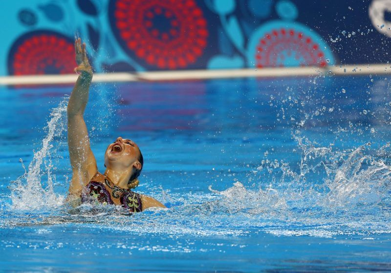 BAKU, AZERBAIJAN - JUNE 13: Anisiya Neborako of Russia competes in the Synchronized Swimming Solo Free Routine - Preliminaries during day one of the Baku 2015 European Games at Baku Aquatics Centre on June 13, 2015 in Baku, Azerbaijan. Cem Oksuz / Anadolu Agency