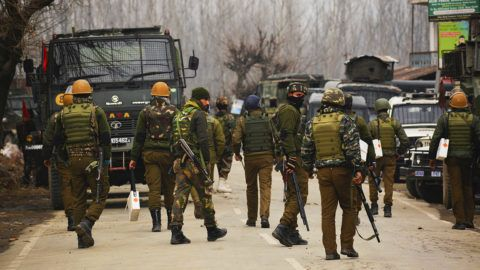 Feb 18, 2019 - Pulwama, Jammu And Kashmir, India -Indian  paramilitary trooper stand alert near the gun battle site in Pulwama south of Srinagar, the summer capital of Indian controlled Kashmir. In an 18 hour long gun fight that started between the Indian armed forces and the militants, four Indian troopers, a police constable, three militants and a civilian have been killed in the Pingleen area of Pulwama. (Photo by Masrat Jan/NurPhoto)