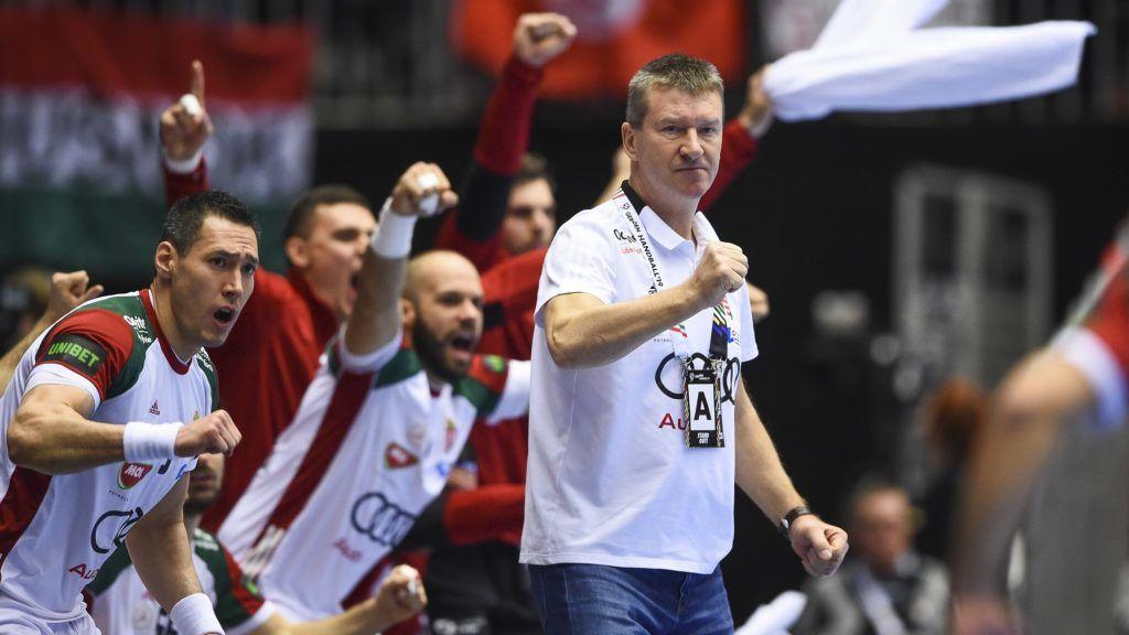 Hungary's coach Istvan Csoknyai reacts during the IHF Men's World Championship 2019 Group II handball match between Denmark and Hungary at the Jyske Bank Boxen arena in Herning on January 19, 2019. (Photo by Jonathan NACKSTRAND / AFP)