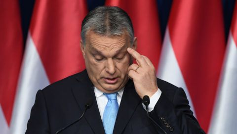 Hungarian Prime Minister and Chairman of FIDESZ party Viktor Orban delivers his state of the nation speech in front of his party members and sympathizers at Varkert Bazar cultural center in Budapest on February 10, 2019. (Photo by ATTILA KISBENEDEK / AFP)