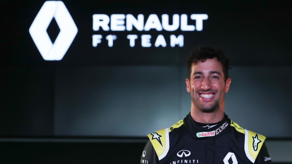 Renault's new Australian driver Daniel Ricciardo poses for a photograph during the 2019 Renault Formula One team season launch at Whiteways Technical Centre in Enstone, northwest of Oxford, on February 12, 2019. (Photo by Daniel LEAL-OLIVAS / AFP)