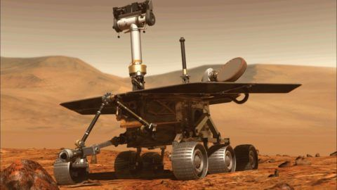 """(FILES) This file computer generated image obtained on August 31, 2018 shows the Opportunity rover of NASA part of the Mars planet exploration program. - US space agency NASA will make one final attempt to contact its Opportunity Rover on Mars late February 12, 2019, eight months after it last made contact.  The agency also said it would hold a briefing February 13, 2019, during which it will likely officially declare the end of the mission.Opportunity landed on Mars in 2004 and covered 28 miles (45 kilometers) on the planet, securing its place in history after lasting well beyond its expected 90-day mission. (Photo by - / NASA / AFP) / RESTRICTED TO EDITORIAL USE - MANDATORY CREDIT """"AFP PHOTO / NASA """" - NO MARKETING - NO ADVERTISING CAMPAIGNS - DISTRIBUTED AS A SERVICE TO CLIENTS"""