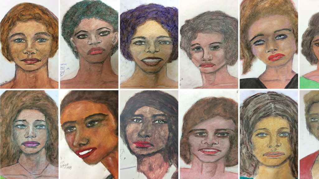 """(COMBO) This combination of pictures created on February 13, 2019 shows sixteen recent drawings released by the Federal Bureau of Investigation (FBI), by suspect Samuel Little, based on his memories of some of his female victims from various locations spread across the US. - The FBI has released 16 drawings by a man who may be the most prolific serial killer in US history in an attempt to identify some of his victims. Samuel Little, a 78-year-old drifter, has confessed to 90 murders committed between 1970 and 2005 and the authorities have corroborated more than 40 of them so far.Little, a 6ft 3in (1.9m) former boxer also known as Samuel McDowell, is serving a life sentence in a Texas prison.The FBI on Tuesday published 16 haunting drawings of women made by Little in an effort to identify some of his victims. (Photos by HO / FBI / AFP) / RESTRICTED TO EDITORIAL USE - MANDATORY CREDIT """"AFP PHOTO / FBI/HANDOUT"""" - NO MARKETING NO ADVERTISING CAMPAIGNS - DISTRIBUTED AS A SERVICE TO CLIENTS"""